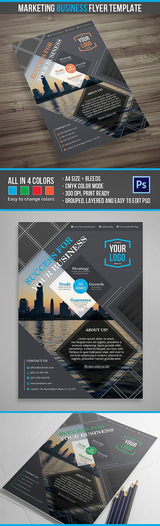 Graphic Design Inspiration · Marketing Business Flyer PSD Template   Easy  To Customize