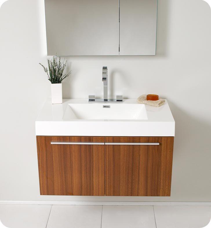 Fresca Vista Teak Modern Bathroom Vanity W Medicine Cabinet