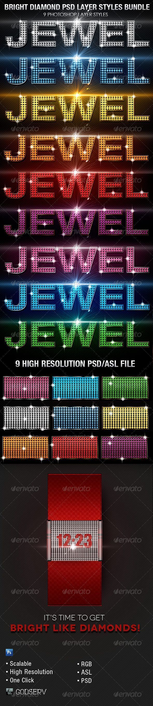 Bright Diamond Photoshop Layer Styles Bundle - $7.00 The Bright Diamond Photoshop Layer Styles Bundle is sold exclusively on graphicriver and can be used for variety of design projects, including Posters, Flyers, CD Artwork etc. Great for projects with a Club Theme, Bling Theme or Jewelry Theme. Have fun and be creative. Use one click to apply or copy the style from the provided psd file #howtoapplybling Bright Diamond Photoshop Layer Styles Bundle - $7.00 The Bright Diamond Photoshop Layer Styl #howtoapplybling