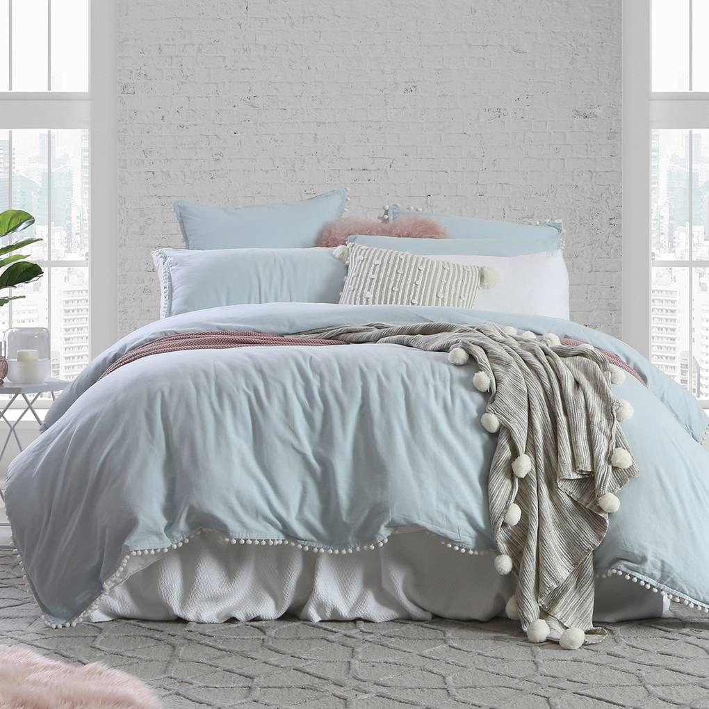 Linen Cotton Light Blue Pom Pom Quilt Cover Set Pillow