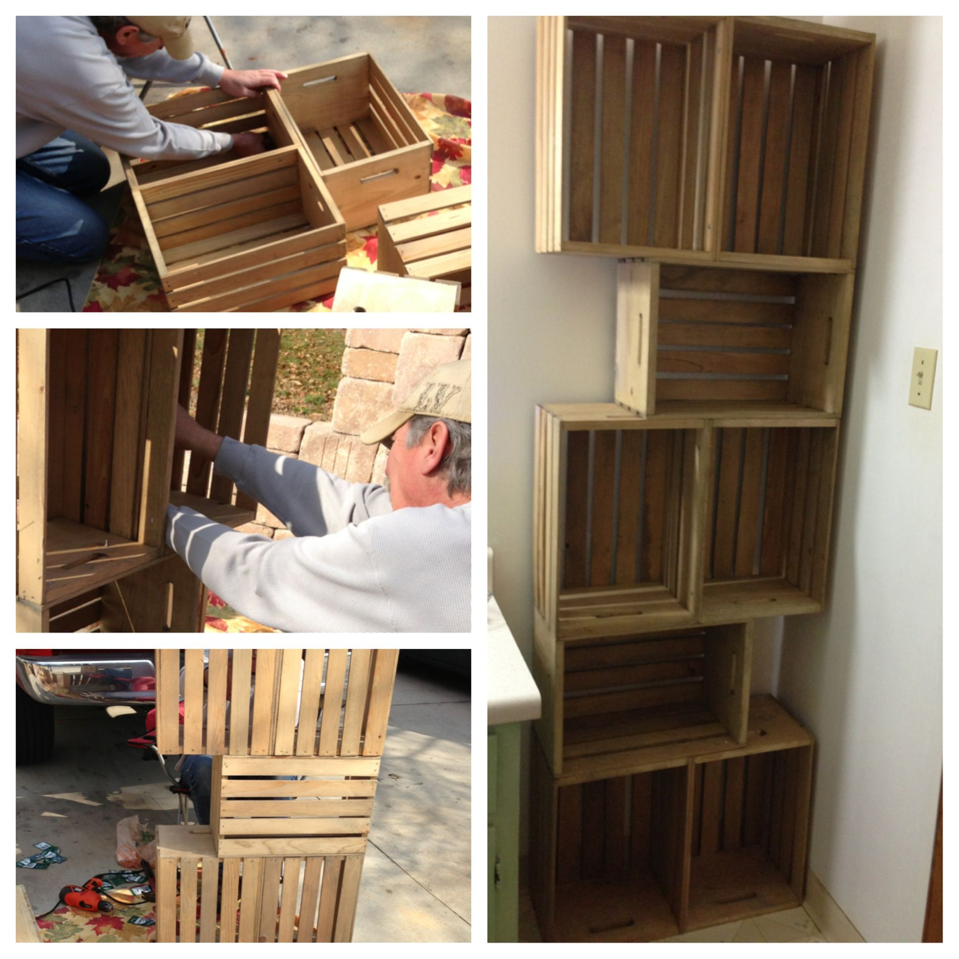 DIY bathroom shelves. Crates from Home Depot, stained then bolted ...