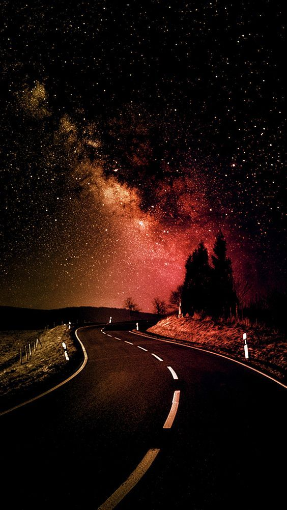 Bright Stars Night Country Road Hd Iphone Wallpaper Beautiful