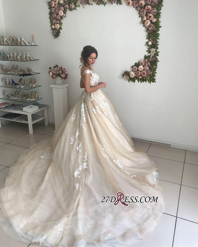 77333f22c3 Chic Off-the-Shoulder 2019 Wedding Dresses Online Lace Appliques Sequins  Tulle Bridal Gowns