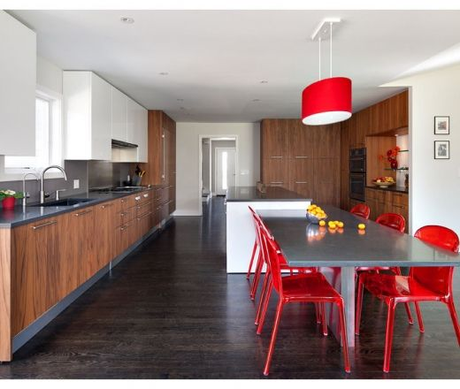 Modern Island Style Red kitchen, walnut cabinets, $50,000 - $100,000 - cocinas italianas