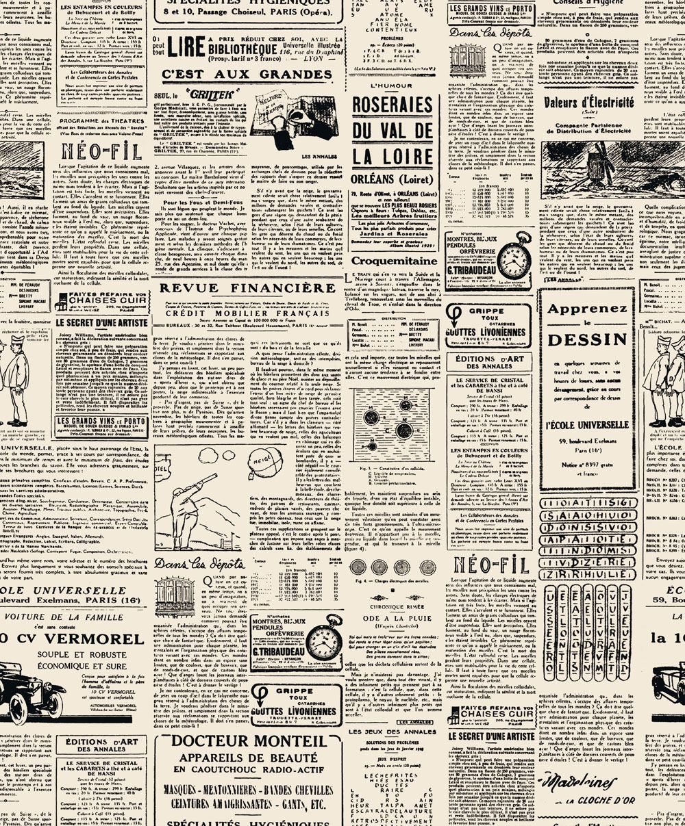 new luxury french newspaper black & cream luxury wallpaper design