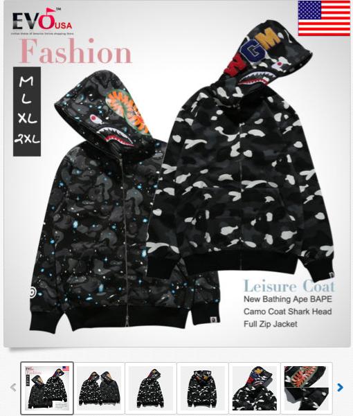 aab5847312db A Bathing Ape BAPE Camouflage Coat Shark Head Full Zip Jacket Hoodie  Sweatshirt FREE Economy Shipping US  34.99