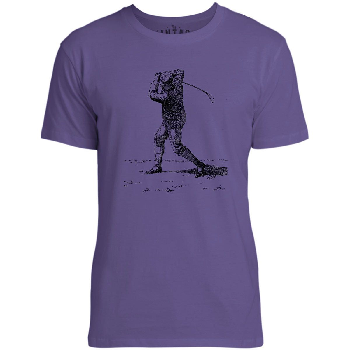 Mintage Golf Swing Mens Fine Jersey T-Shirt (Purple)
