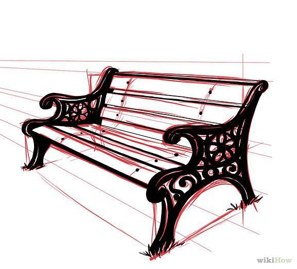 How To Draw A Park Bench Perspective Art Cartoon Park Drawings