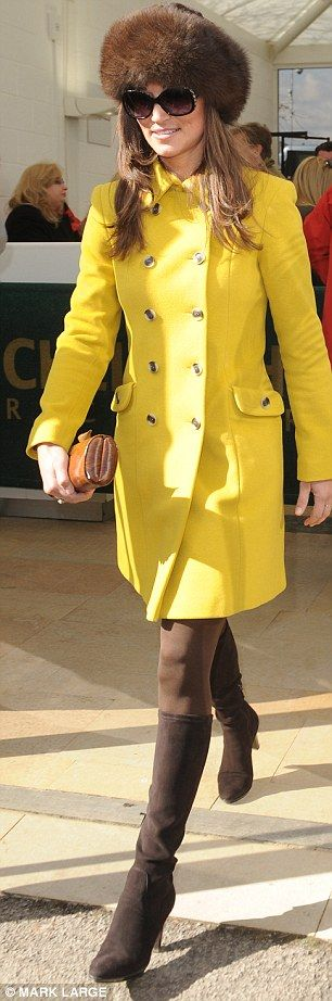 SHE LOOKS FAB -Retro: Pippa's brown and yellow outfit had a Seventies vibe