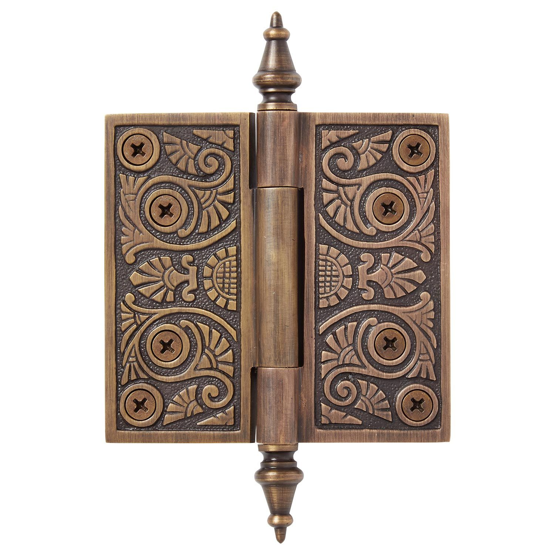 Antique VTG Art Deco Door Hinges Set Heavy Pair Large 7 inch