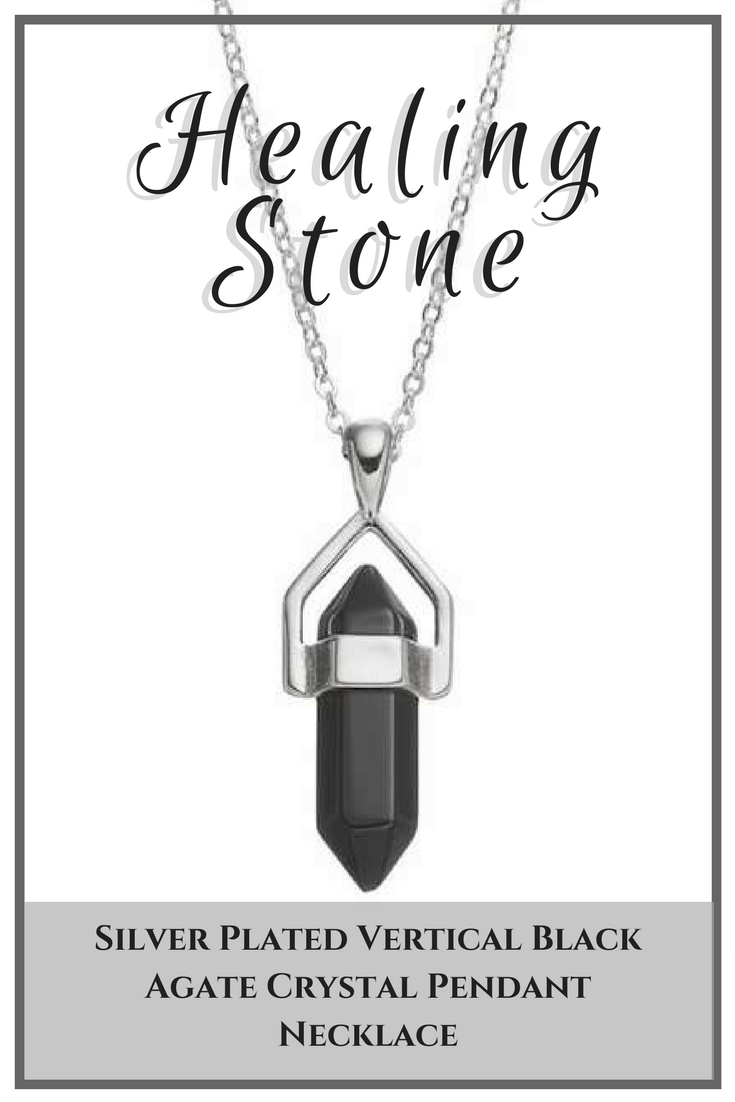 Decorated With A Vertical Crystal Shaped Black Agate Gemstone This Healing Stone Pendant Makes An Encha Crystal Necklace Pendant Agate Crystal Healing Stones