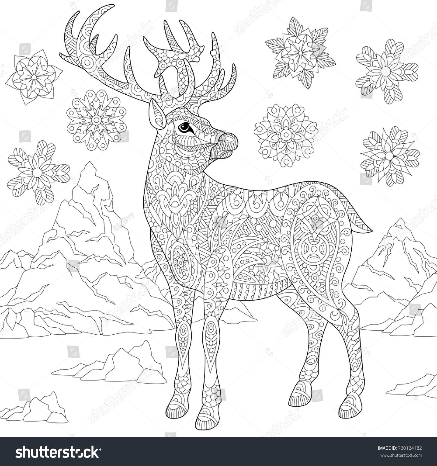Adult Coloring Pages Deer. Christmas Coloring Page For Adults ... | 1600x1500