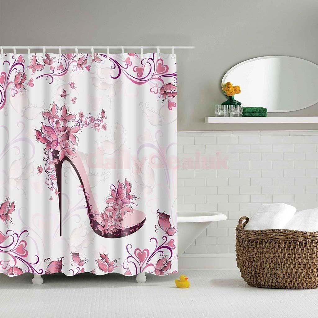 Waterproof polyester bathroom shower liner sheer curtain whooks