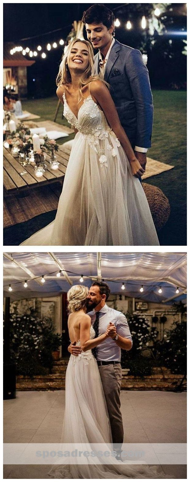 Lace wedding dress v neck november 2018 Sexy Backless Spaghetti Straps Cheap Wedding Dresses Online Lace A
