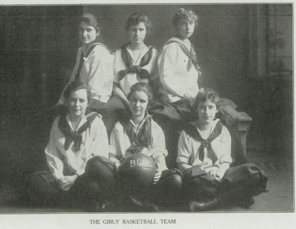 """The Girls' Basketball team in the 1917 """"Paean"""" yearbook of Battle Creek Central high school in Battle Creek, Michigan.  #BattleCreek #Michigan #yearbook #Paean #1917 #basketball"""