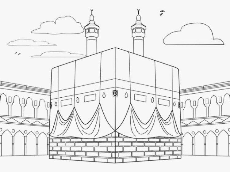 11 Contoh Mewarnai Gambar Masjid Sederhana Untuk Paud Tk Seni