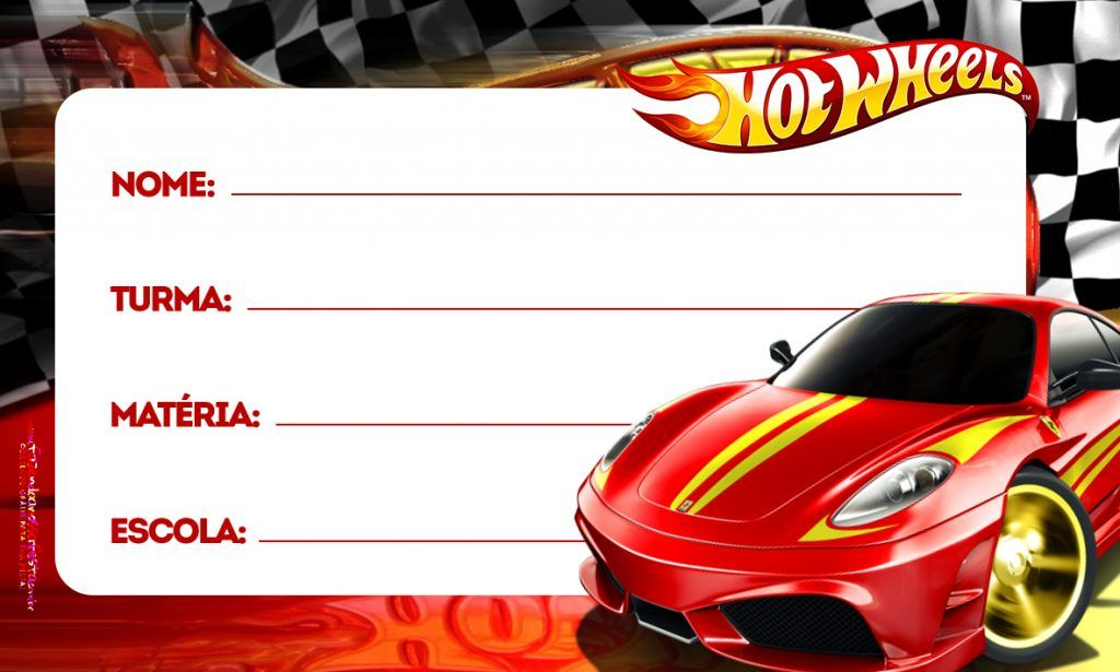 Hot Wheels Etiqueta Escolar Personalizada Imagem Legal
