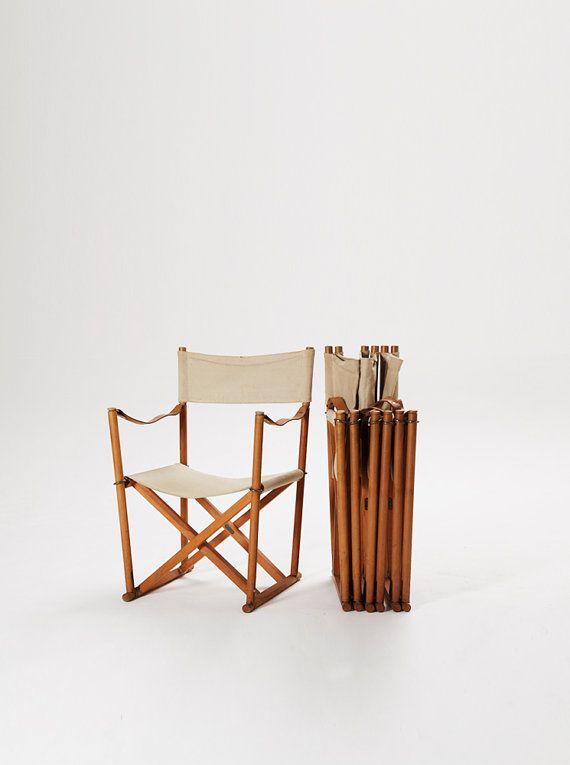 A Set Of 4 Vintage Mogens Koch Folding / Directors Chairs, Denmark, 1960s/