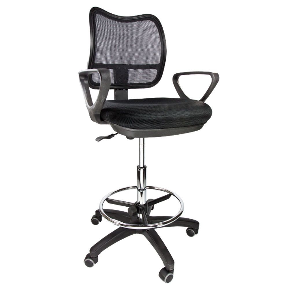 Drafting Chair Mesh Stool Armrest Ergonomic Adjustable Footring
