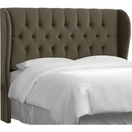 Tufted Wingback Headboard, Multiple Sizes and Colors, Gray