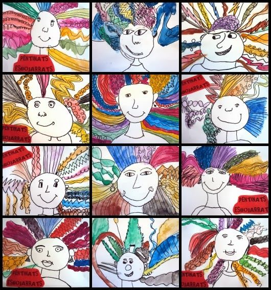 """Resultat d'imatges per a """"dibujos pintados de nens pentinats"""""""