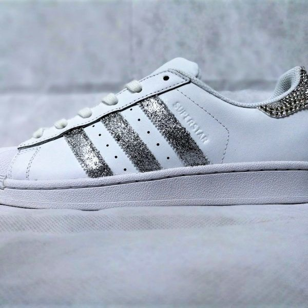 Sneakers adidas · Adidas Superstar Glitter Silver Swarovski double g customs