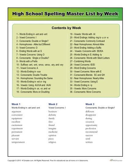 36 week free printable spelling program to help high school students master commonly misspelled words.