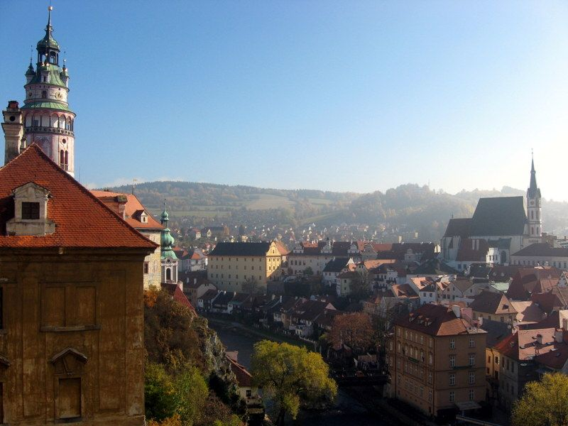 Sunshiny day in Cesky Krumlov, Czech Republic.