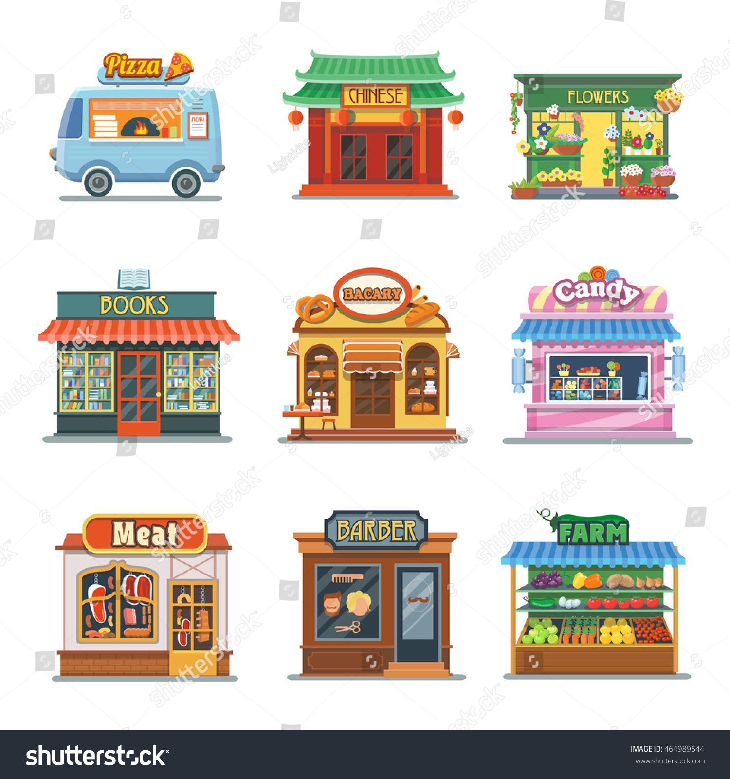 Set of nice showcases of shops. Pizza trailer, bakery