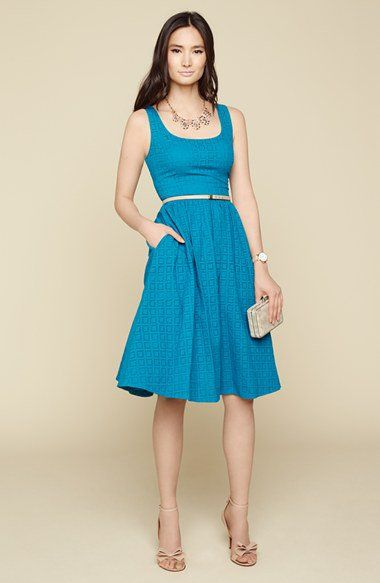 Donna Morgan Belted Eyelet Lace Fit Flare Dress Nordstrom