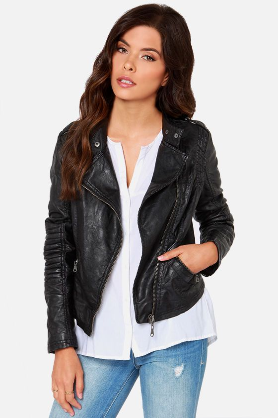 Black Swan Heart Black Vegan Leather Moto Jacket | Logos, Front ...