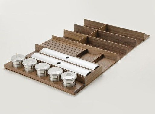 """Hafele's """"Fineline"""" Drawer Organizers is part of Drawer Organization Plates - Have you ever walked into a kitchen showroom like Bulthaup or Poggenpohl  If you have, you're familiar with their customized drawer organizational systems, and you may have even (metaphorical…"""