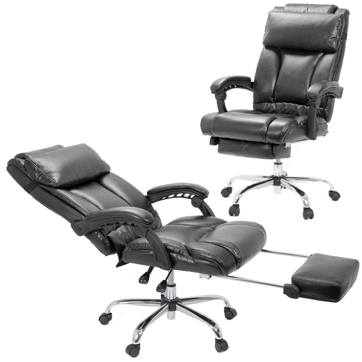 Barton High Back Office Chair With Extend Footrest Pad Black