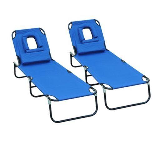Charmant Set Of 2 Folding Face Down Beach Sun Bathing Tanning Lounger Lounge Chair  Blue | EBay