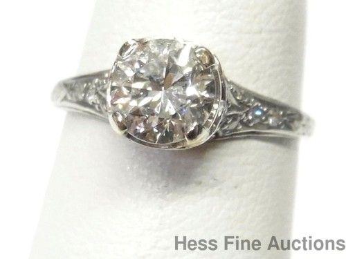 Antique Platinum Filigree 1.05ct Old Euro Cut Diamond Solitaire Engagement Ring