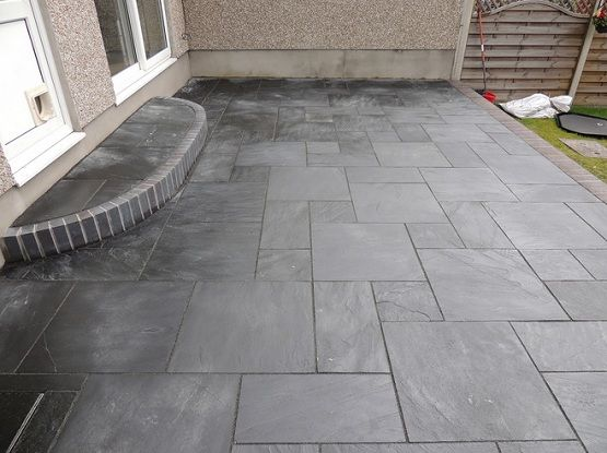 Black Slate Patio Tiles For Small Narrow Patio Flooring Slate Patio Patio Flooring Patio Tiles