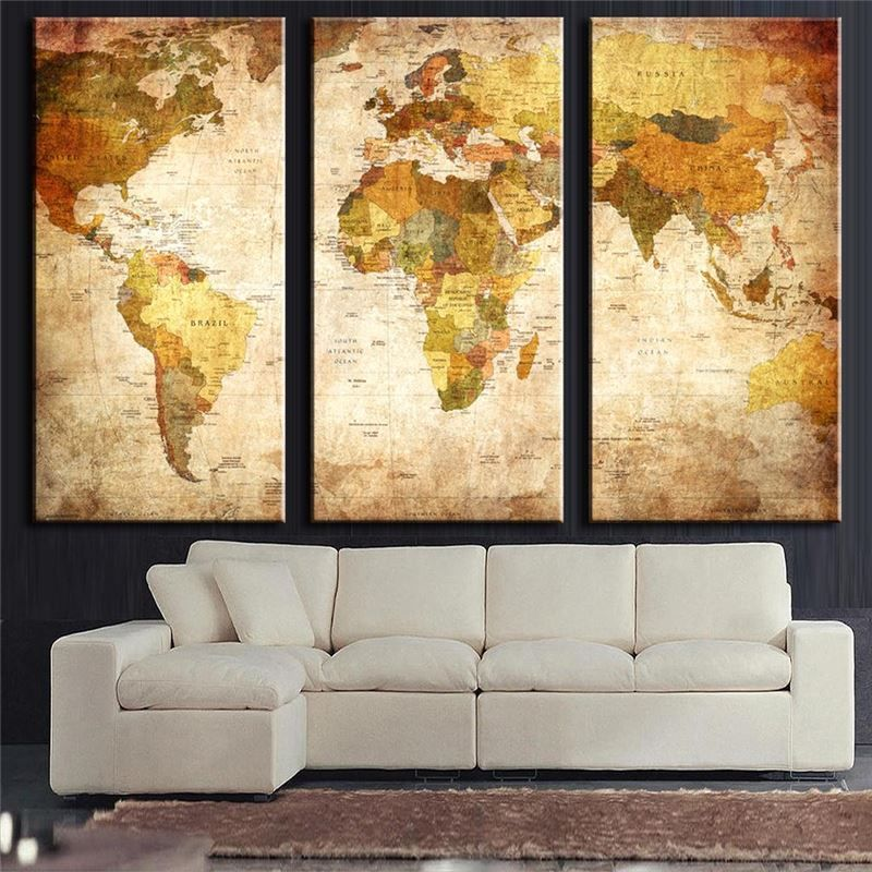 3 Panels Vintage World Map Canvs Painting Oil Panting On Canas Home ...