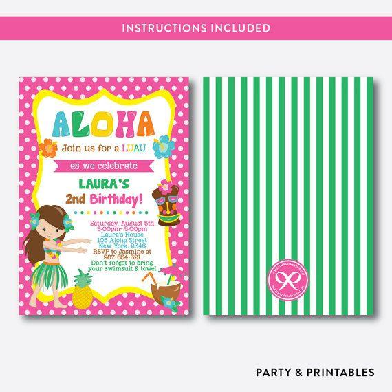Descarga Instantanea Editable Aloha Luau Invitacion Por Everjolly