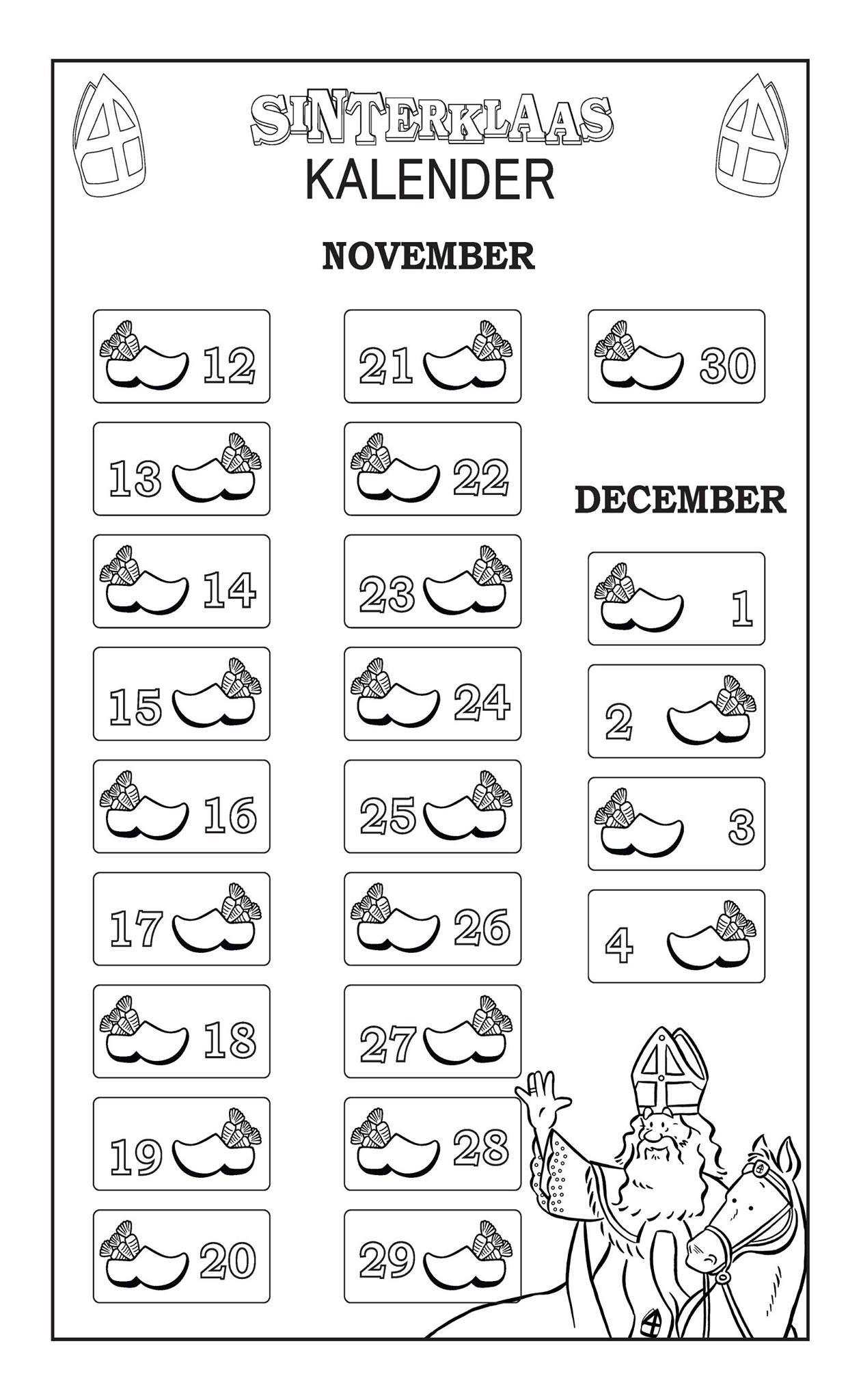 Sinterklaas Kalender Uitprinten En Het Kind In Schoen Laten Stoppen Sinterklaas Kleurt Dan In Op Welke Dagen Ze Hun Scho Sinterklaas Kalender Voor Kinderen