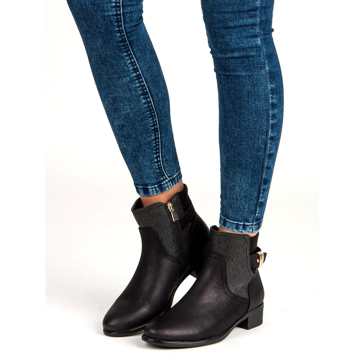 Vinceza Damskie Jesienne Botki Czarne Chelsea Boots Ankle Boot Shoes