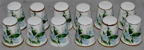 """12 x Royal Grafton """"Blossom by Blossom"""" Swinburne English Bone China Thimbles"""