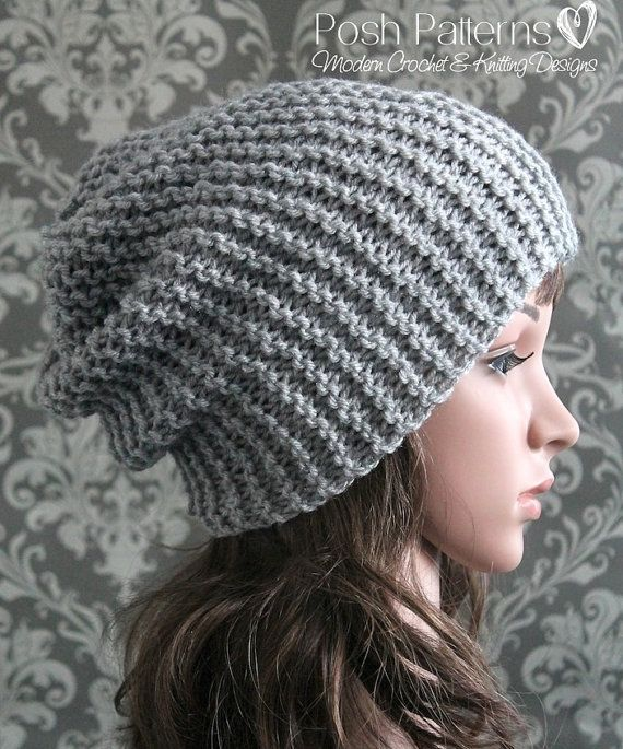 Knitting Patterns For Beginners Beanie : Knitting PATTERN - Easy Beginner Knit Slouchy Hat Pattern - Knitting Patterns...