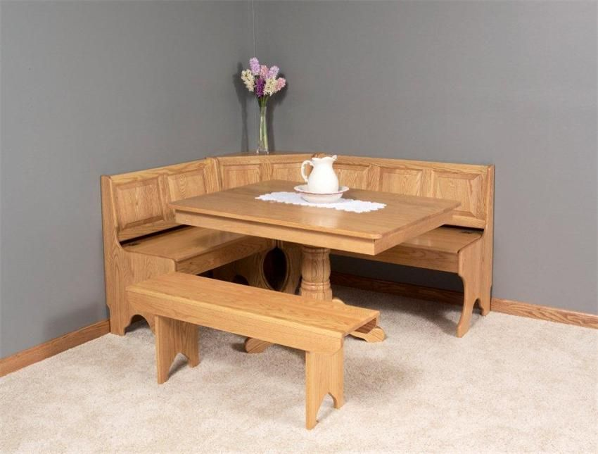 Amish Breakfast Nook Set In Solid Wood In 2019