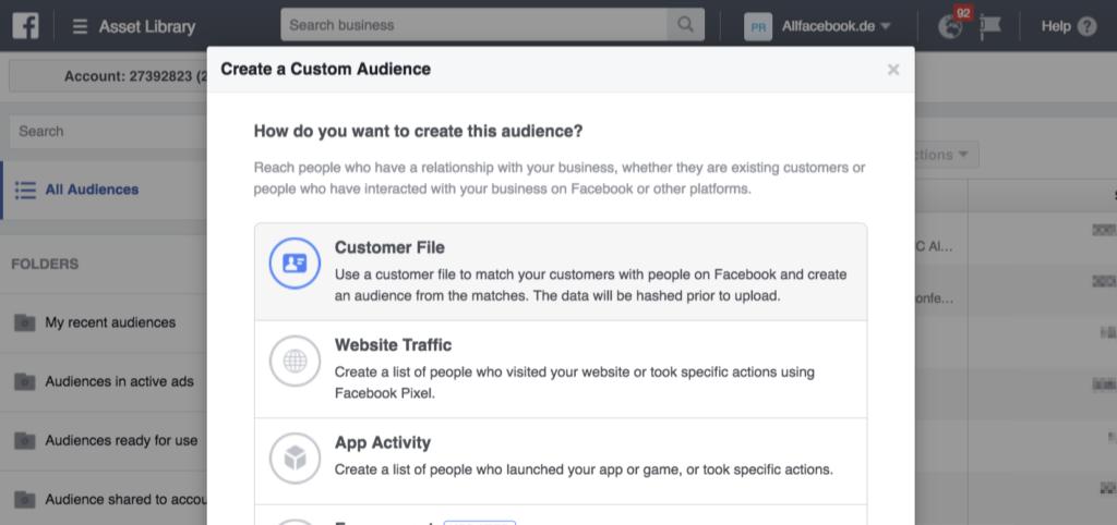 Tutorial Facebook Custom Audience aus eigenen Daten