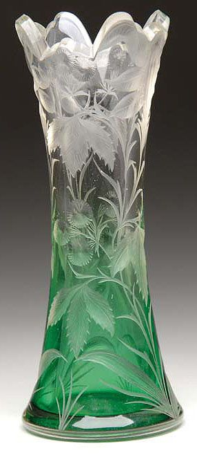 Wheel engraved green to clear crystal glass vase with floral decorations by Moser, 19th-20th Cent.
