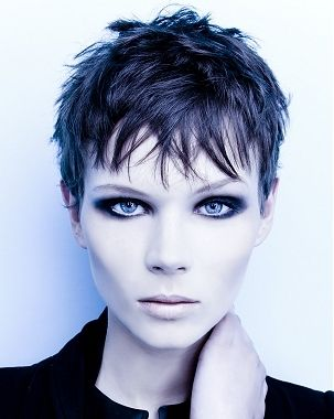 short texture pixie hair styles | Brown Long Side Bangs Hair with Short Pixie Hair for Women