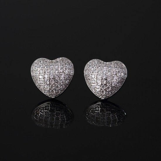 Charming heart shaped silver earrings E-0006