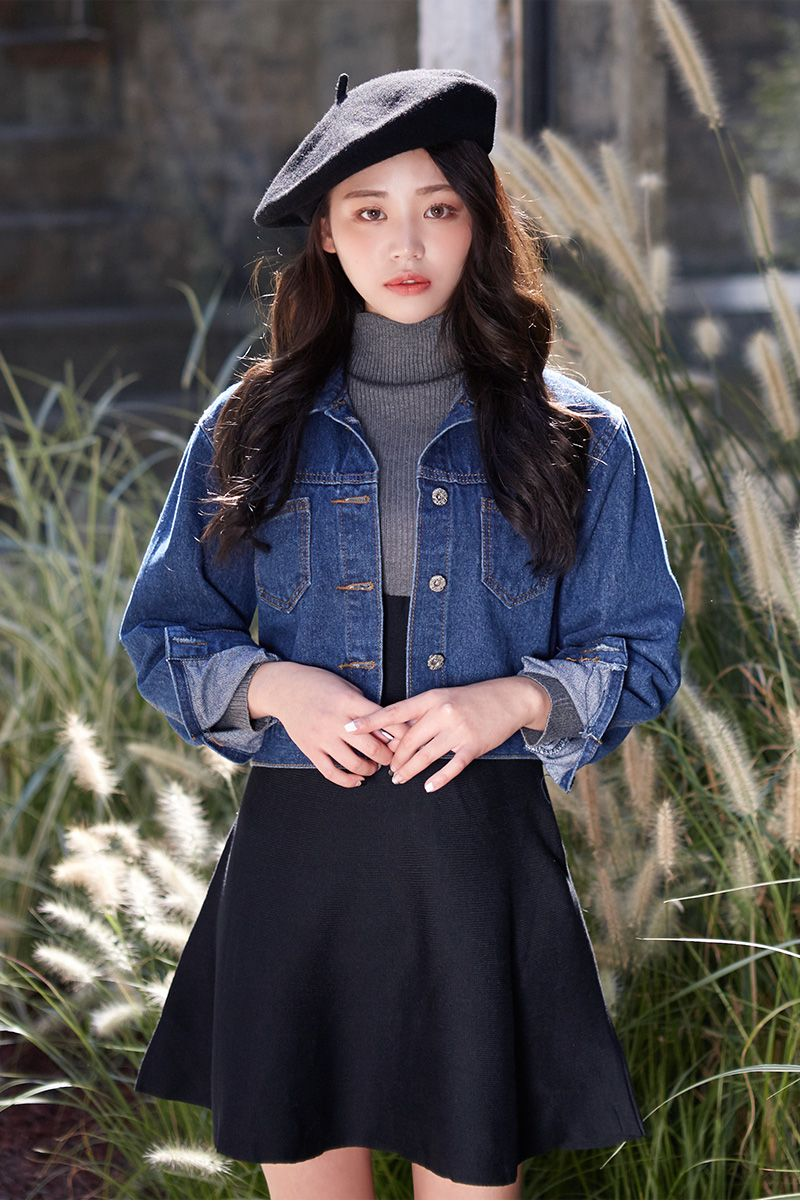 Korean fashion , grey turtleneck, black skirt, cropped denim