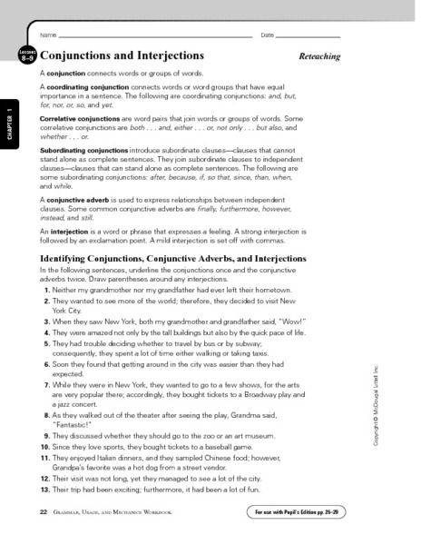 conjunctions and interjections worksheet lesson planet school stuff pinterest lesson. Black Bedroom Furniture Sets. Home Design Ideas