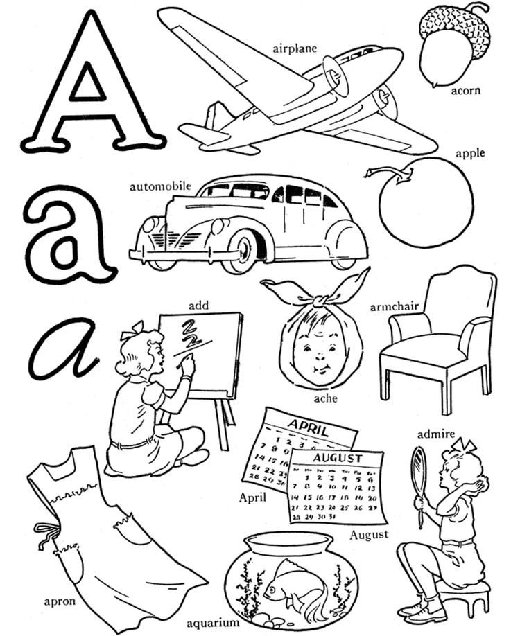 A Words Alphabet Coloring Pages Printable Alphabet Coloring Pages Alphabet Coloring Color Activities